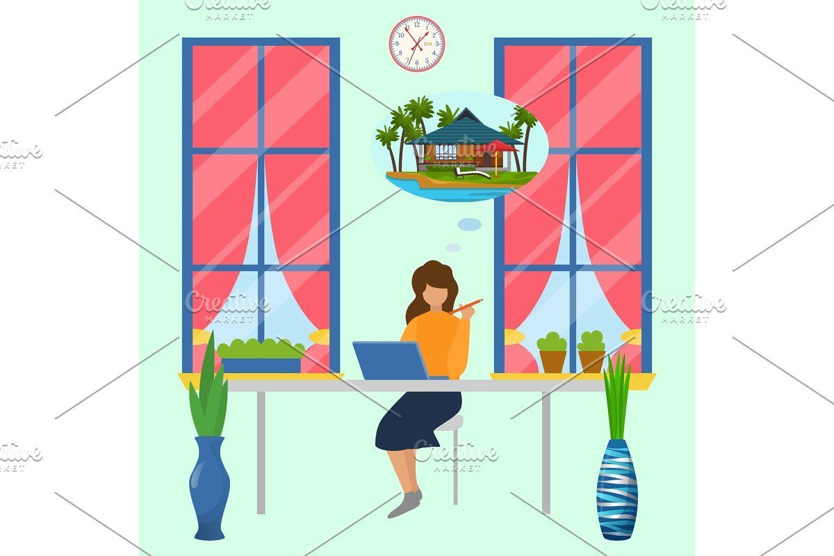 Working woman in office dreams about  #Work, #Office, #Illustration, #Relax, #Vacation, #Vector,   #dreams #Office #woman #Working