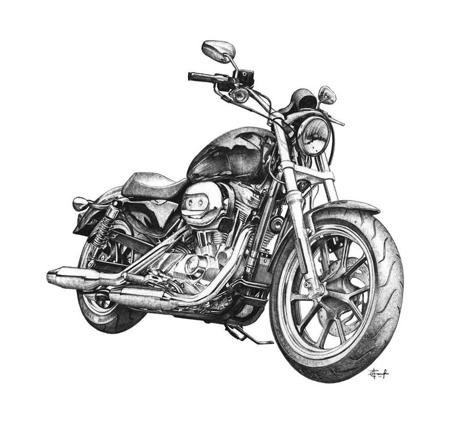 Photo of Harley Davidson Superlow ballpoint pen drawing by taucf on DeviantArt