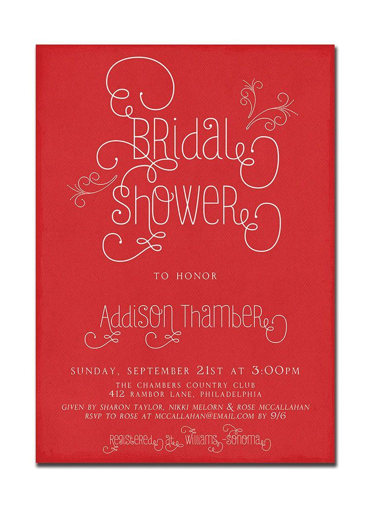 Modern Bridal Shower Invitation Typography Invitation Vintage Retro ...