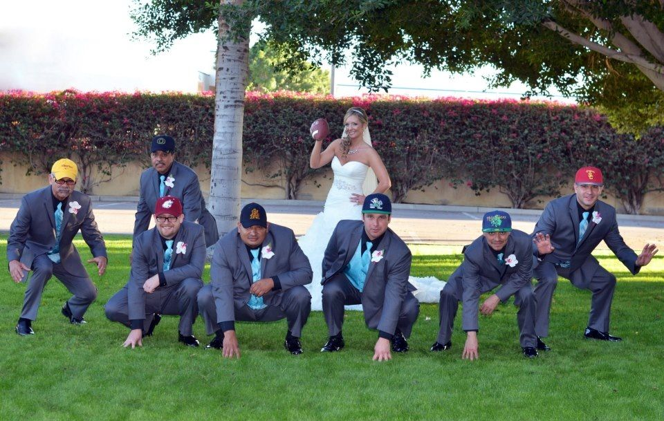 What a fun picture of the groomsmen love this 3 3 3 football wedding junglespirit Choice Image