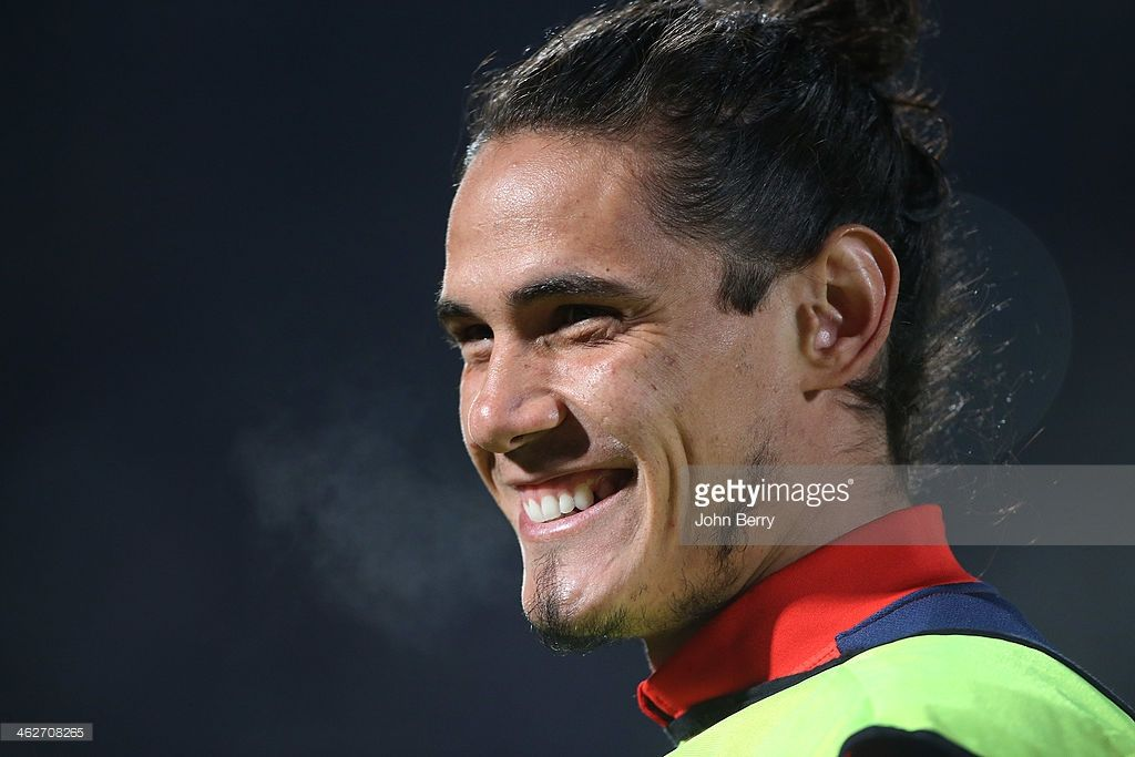 Edinson Cavani of PSG looks on during the french League Cup match between FC Girondins de Bordeaux and Paris Saint-Germain FC at the Stade Chaban-Delmas stadium on January 14, 2014 in Bordeaux, France.