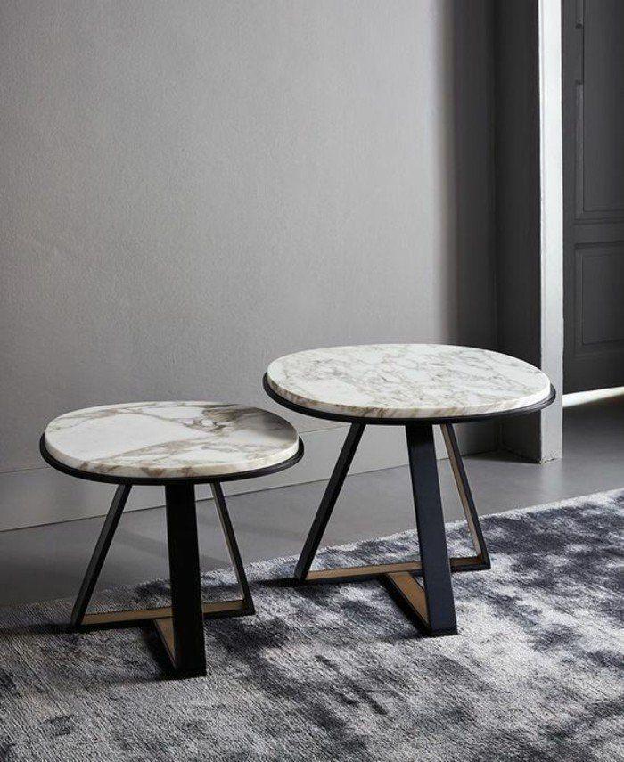 Table basse en marbre 58 id es pour donner du style au Mesas extraibles salon