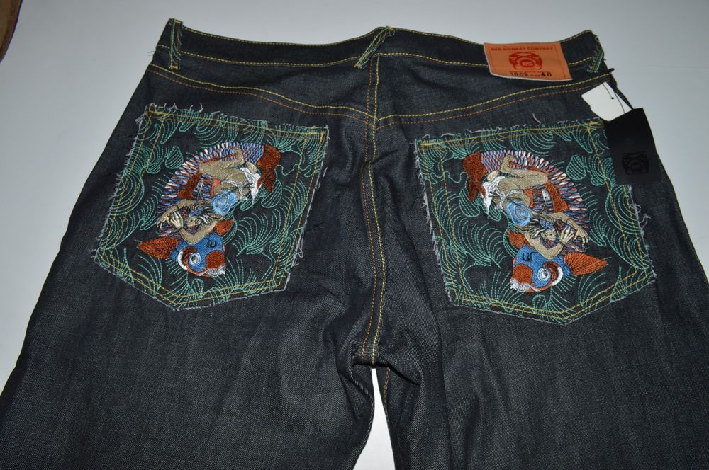 New Mens Hip-Hop Shorts Capri Jeans Denim Pants Baggy Embroidery Printed W30-W42