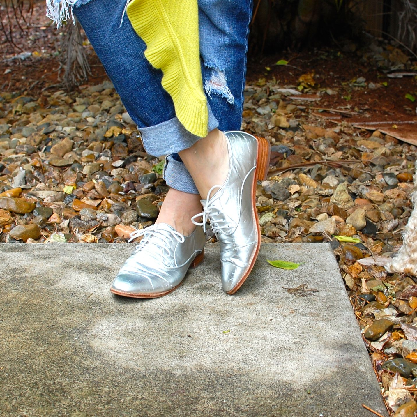 Silver Brogues go with everything!! Silver shoes, with folded up boyfriends