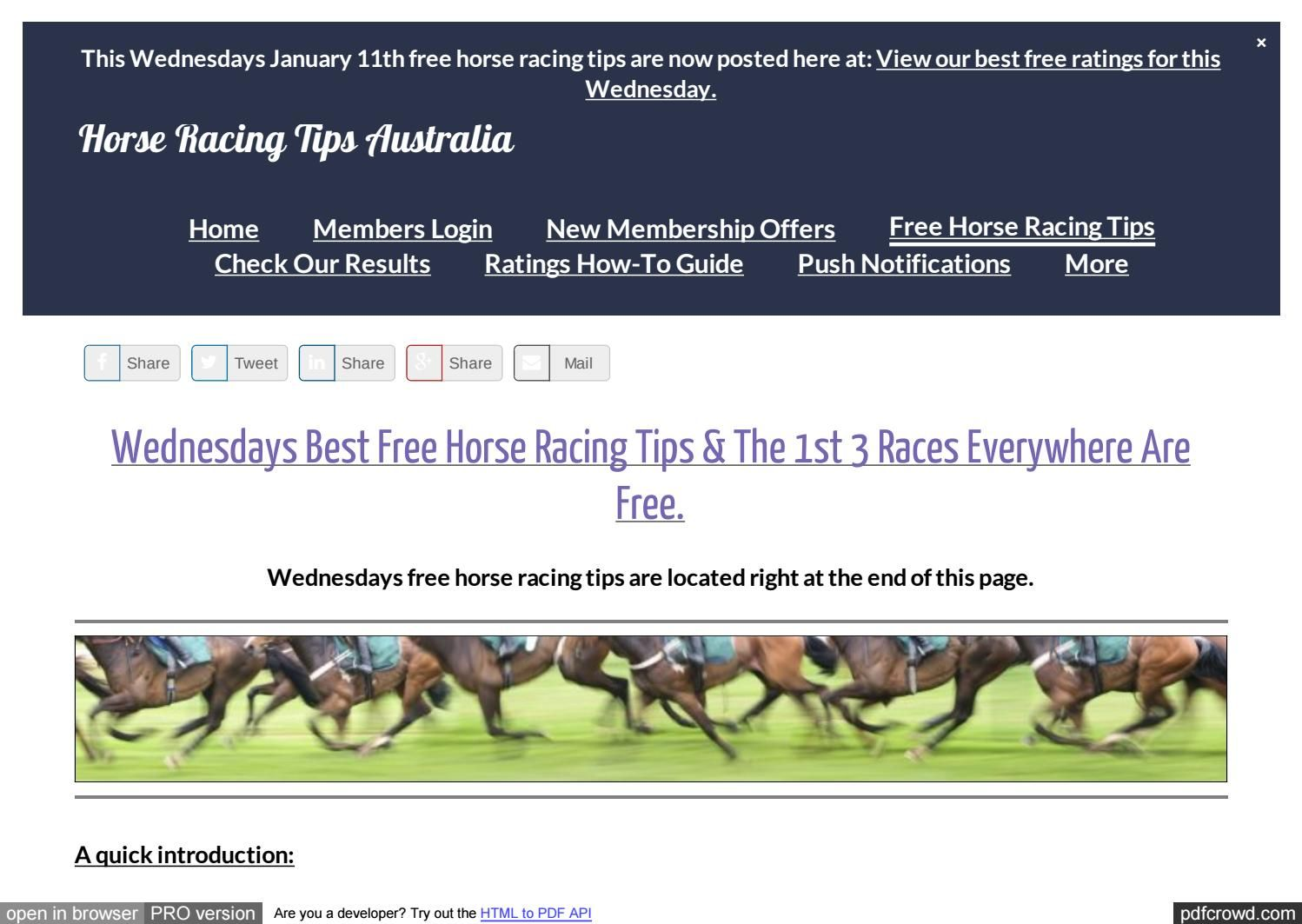Wednesdays January 11th Free Horse Racing Tips