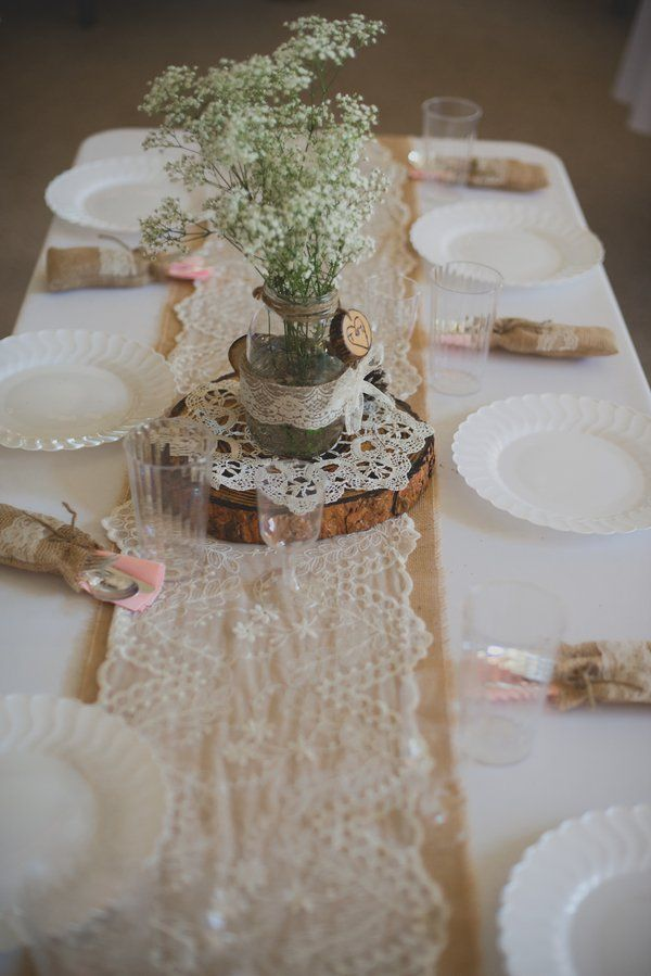 Burlap Wedding Decorations Centerpieces Tables Flowers Round Table
