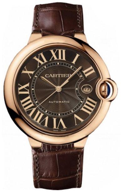 W6920037 Cartier Ballon Bleu Chocolate Dial 18k Rose Gold Case