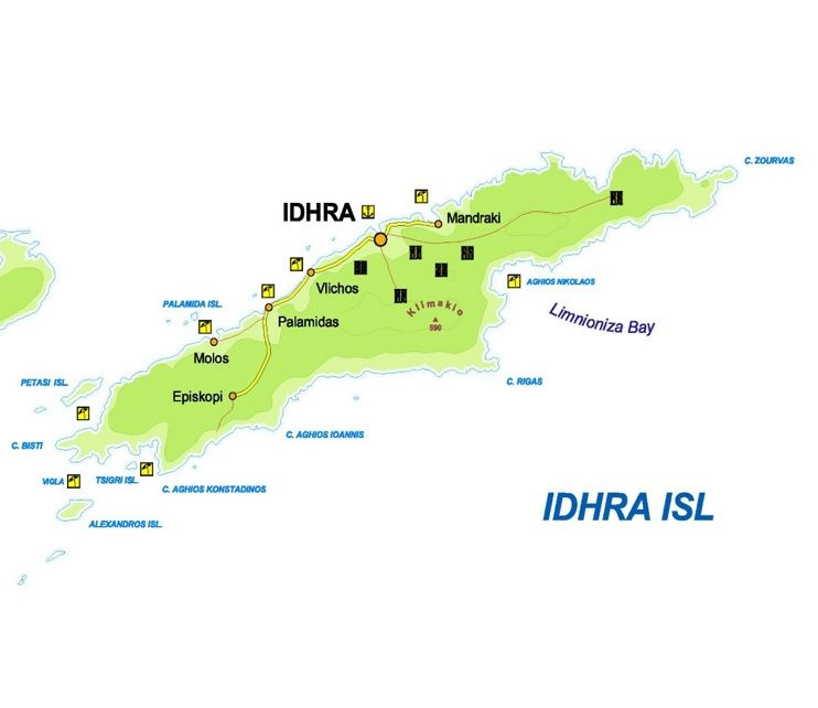 Hydra tourist map Maps Pinterest Tourist map and Greece islands