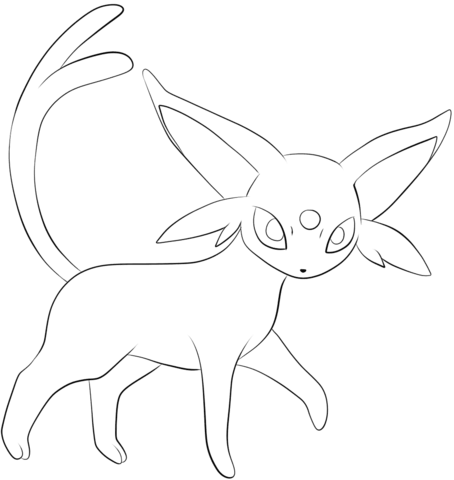 Click to see printable version of Espeon Coloring page | LineArt ...