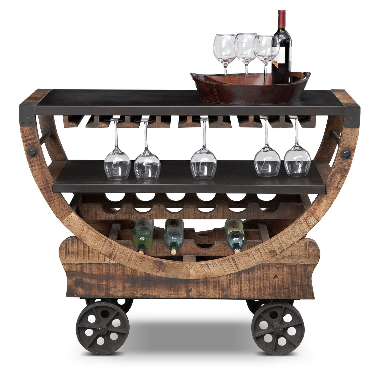 Whoa Happy Hour Just Got More Awesome Farrell Bar Cart Value City Furniture Rustic