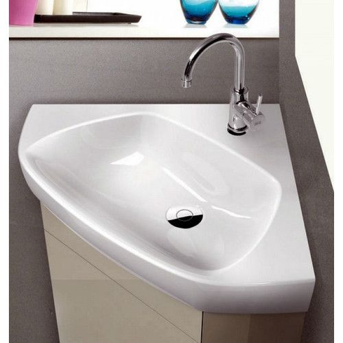 Arda Glossy White Ceramic Corner Bathroom Sink Corner Sink Bathroom Wall Mounted Bathroom Sinks Sink