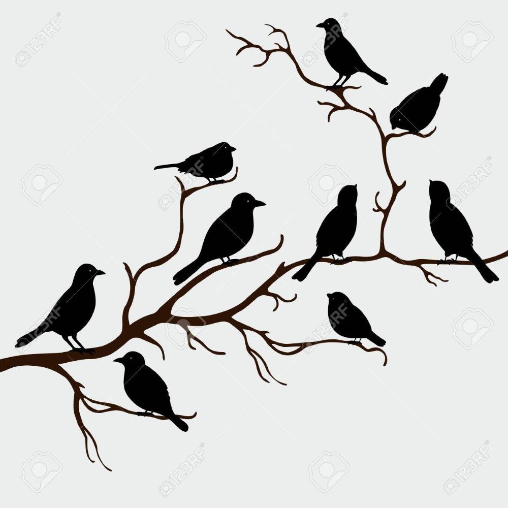 Cute Black Birds On A Branch Stock Vector 36399483 Bird Silhouette Black Bird Bird Illustration