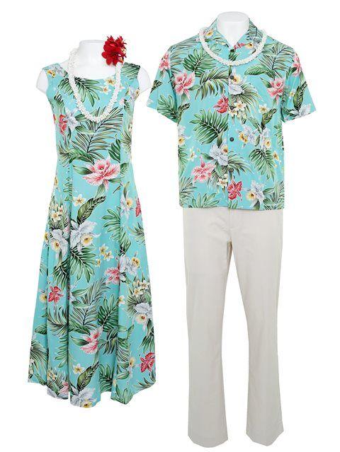 e724181a7 Orchid Teal Rayon Men's Hawaiian Shirt | Matching Hawaiian Outfits ...