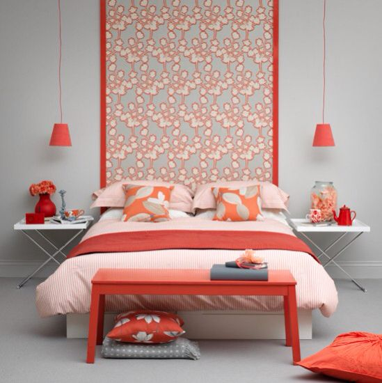 Modern Coral Bedroom The Soft Greys Act As A Neutral Canvas For The  Splashes Of Hot Coral. Statement Accessories Add To This Uber Modern Look. Part 74