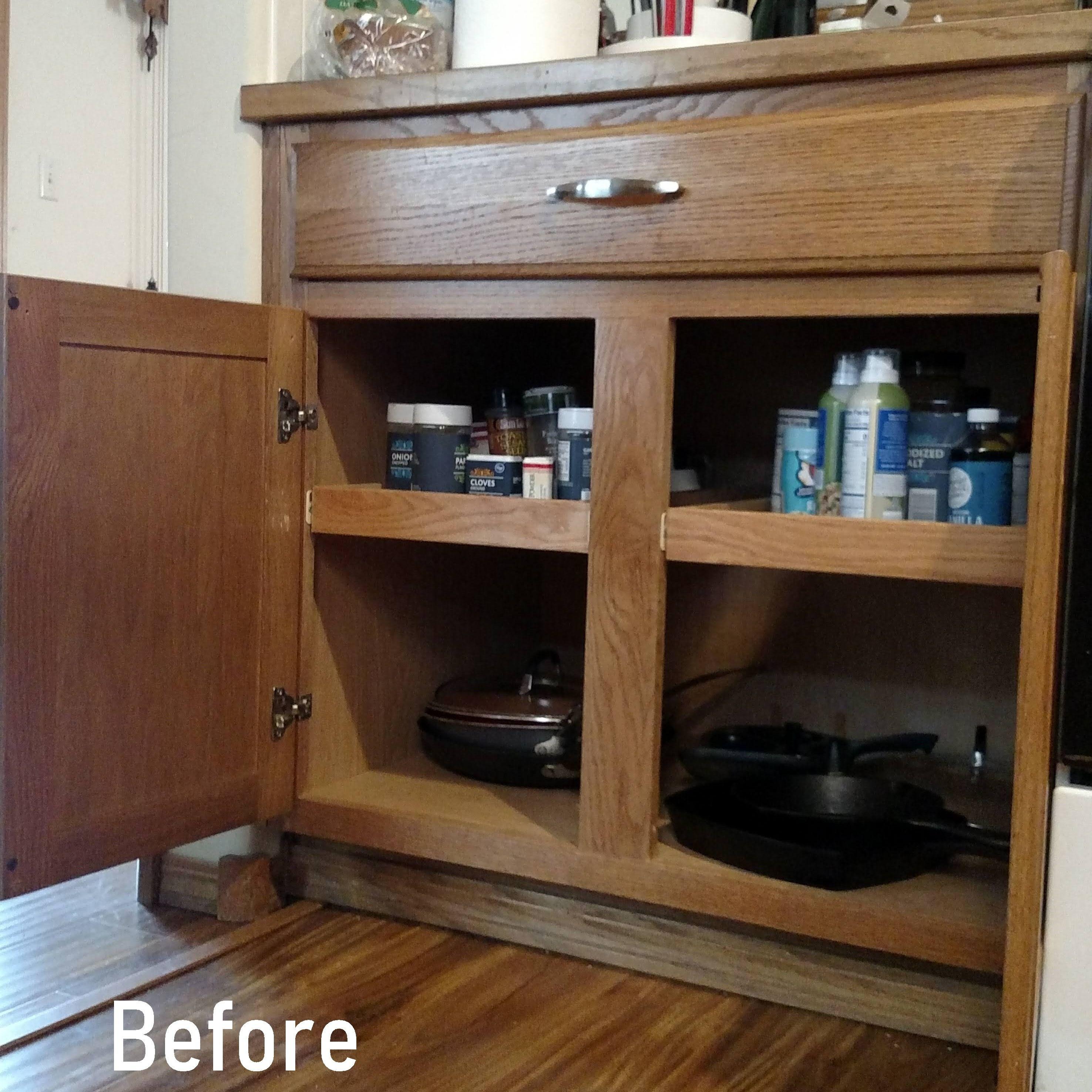 Before After Pull Out Shelf Install Shelves Shelf Organization Cabinet Doors