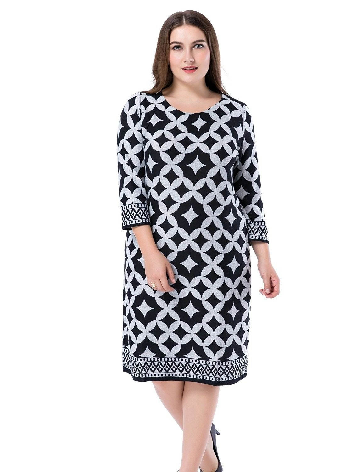 8e7df0aef3c Women s Plus Size Printed Shift Dress Cashmere Touch US12-28 - Grey ...