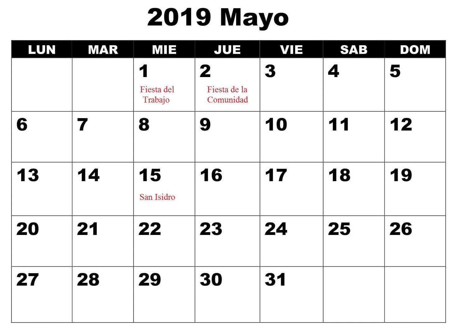 Calendario Con Excel.Calendario Mayo Con Festivos 2019 Word Calendario Mayo