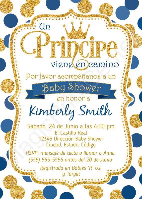 SPANISH Prince Baby Shower Invitation, Boy Baby Shower Invitation, Royal Blue and G