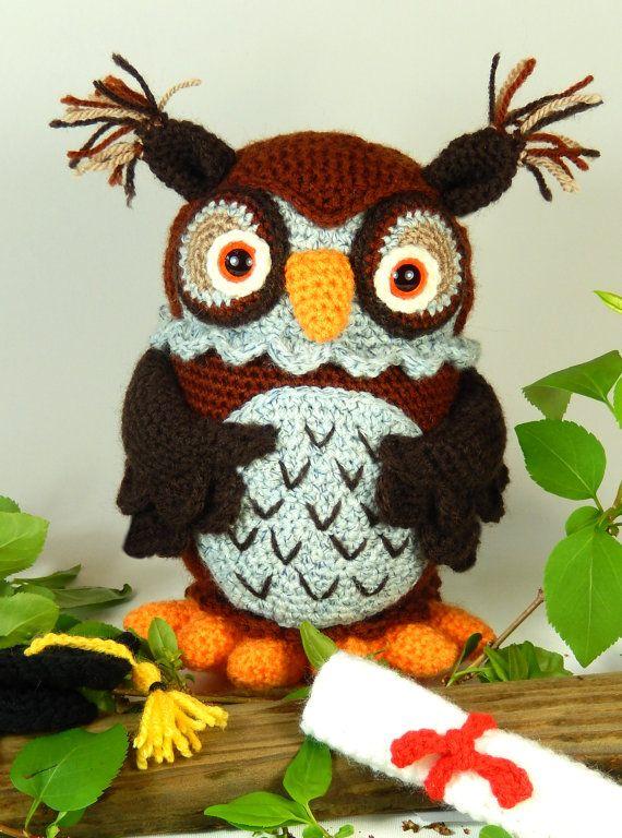Wesley el sabio búho patrón de Amigurumi Crochet por mojimojidesign