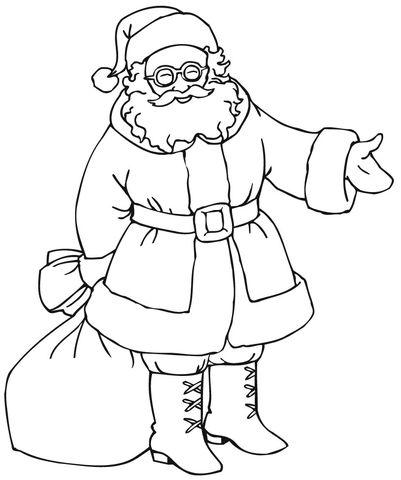 santa with gift bag coloring page  christmas present
