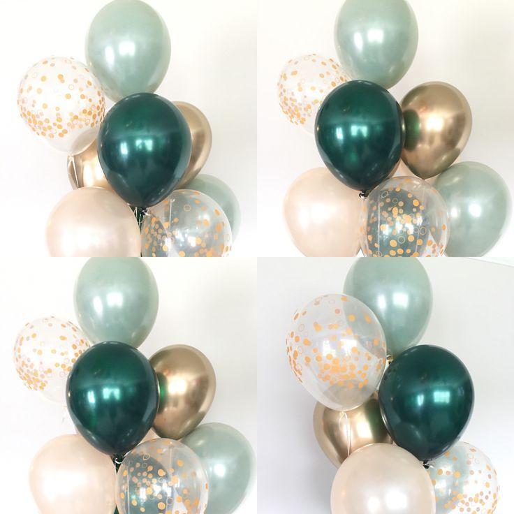 Sage Green Balloons | Light Green Wedding Decor | Green and Gold Balloons | Chrome Gold Balloons |Sa