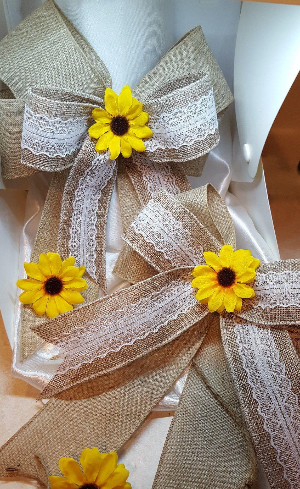 Sunflower Burlap Lace Bows Wedding Bows Set Of 5 Etsy Sunflower Wedding Decorations Burlap Wedding Burlap Lace