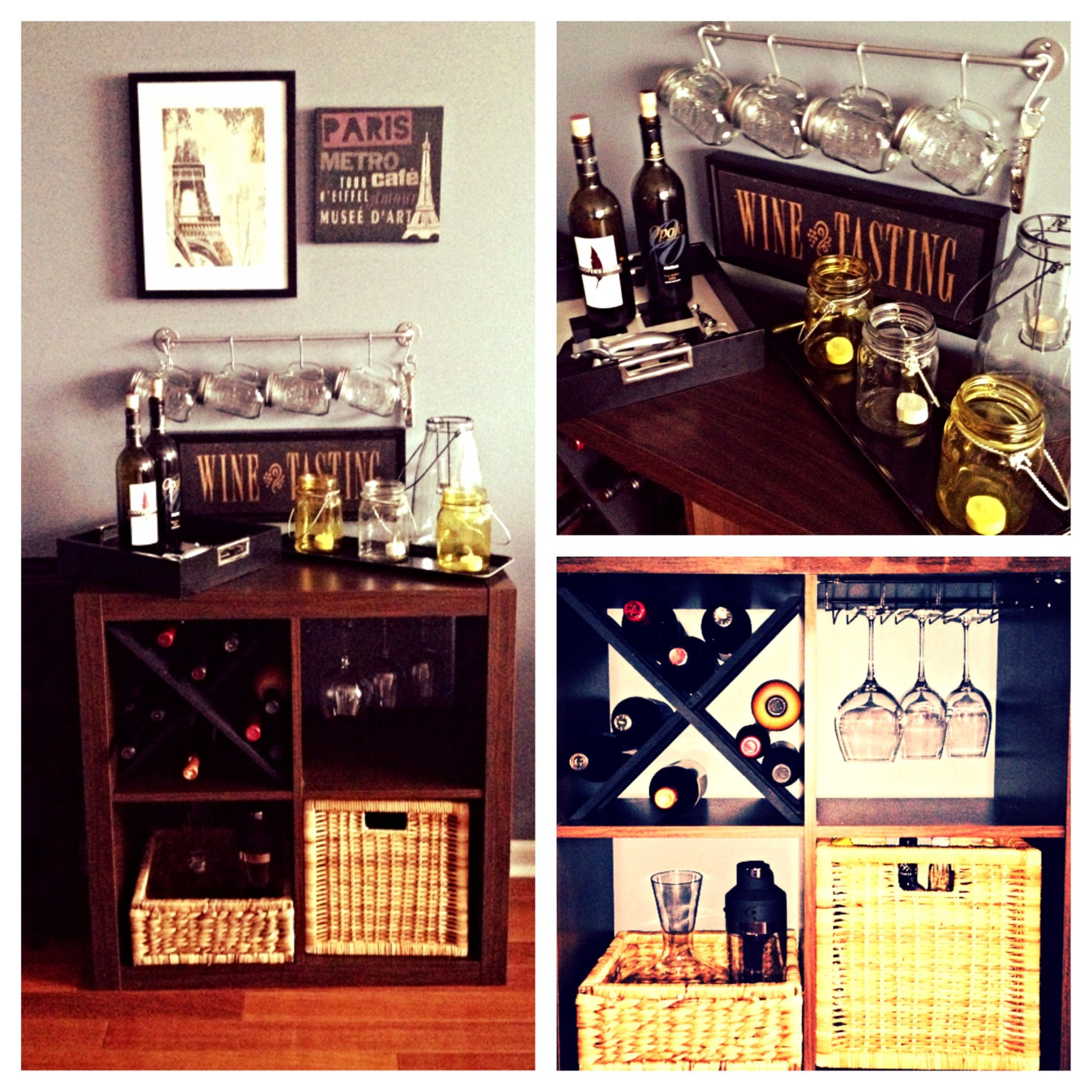 Diy mini bar using a shelf from ikea condo pinterest shelves and bar Diy home bar design ideas