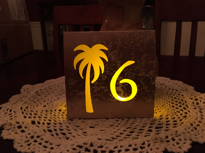 Beach Table Numbers Beach Wedding Luminaries Palm Tree Table
