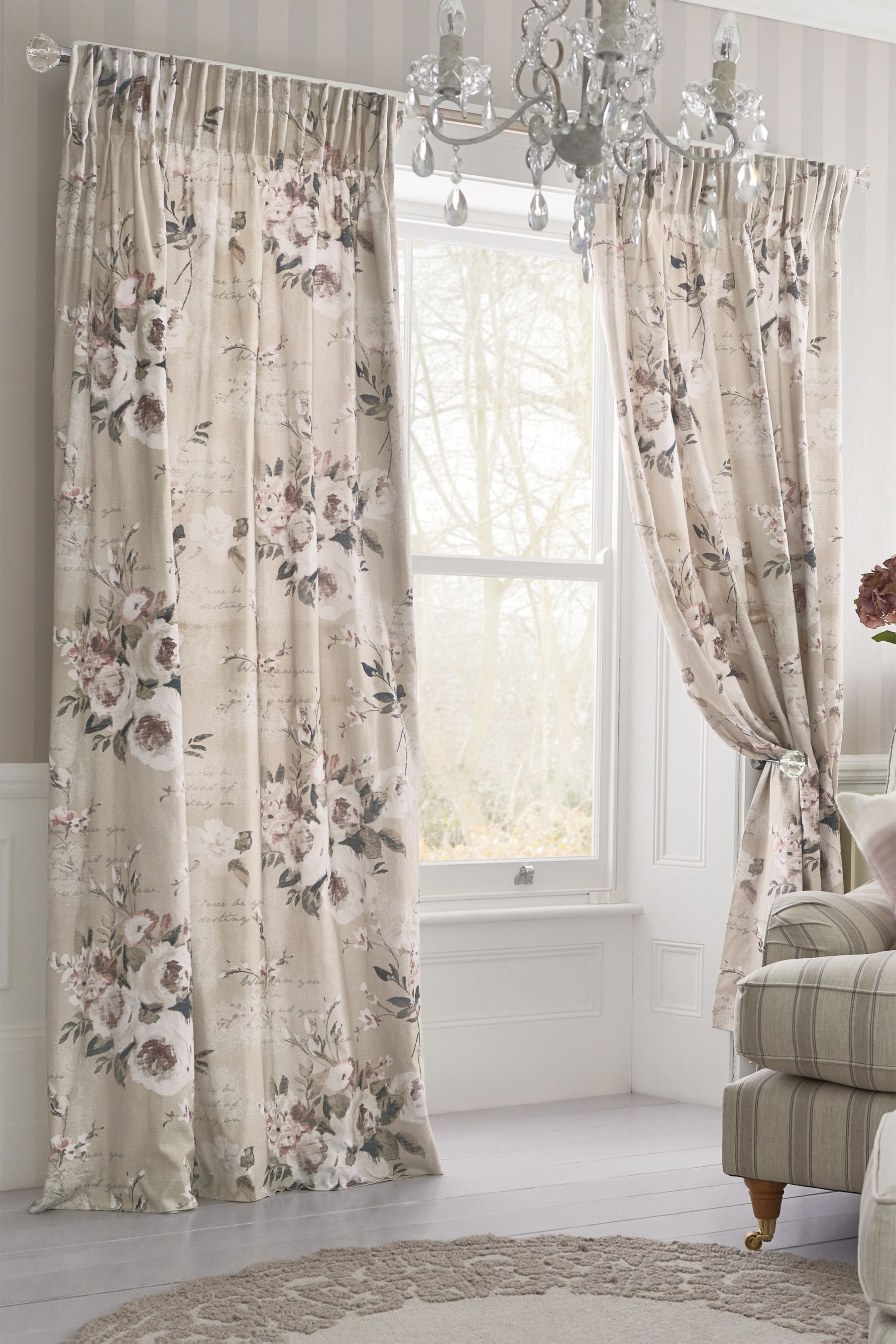 Buy Mauve Floral Poetry Printed Pencil Pleat Curtains from the Next ...