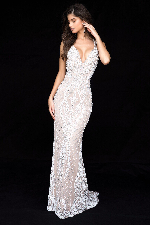 Long Sherri Hill Beaded V-Neck Prom Dress