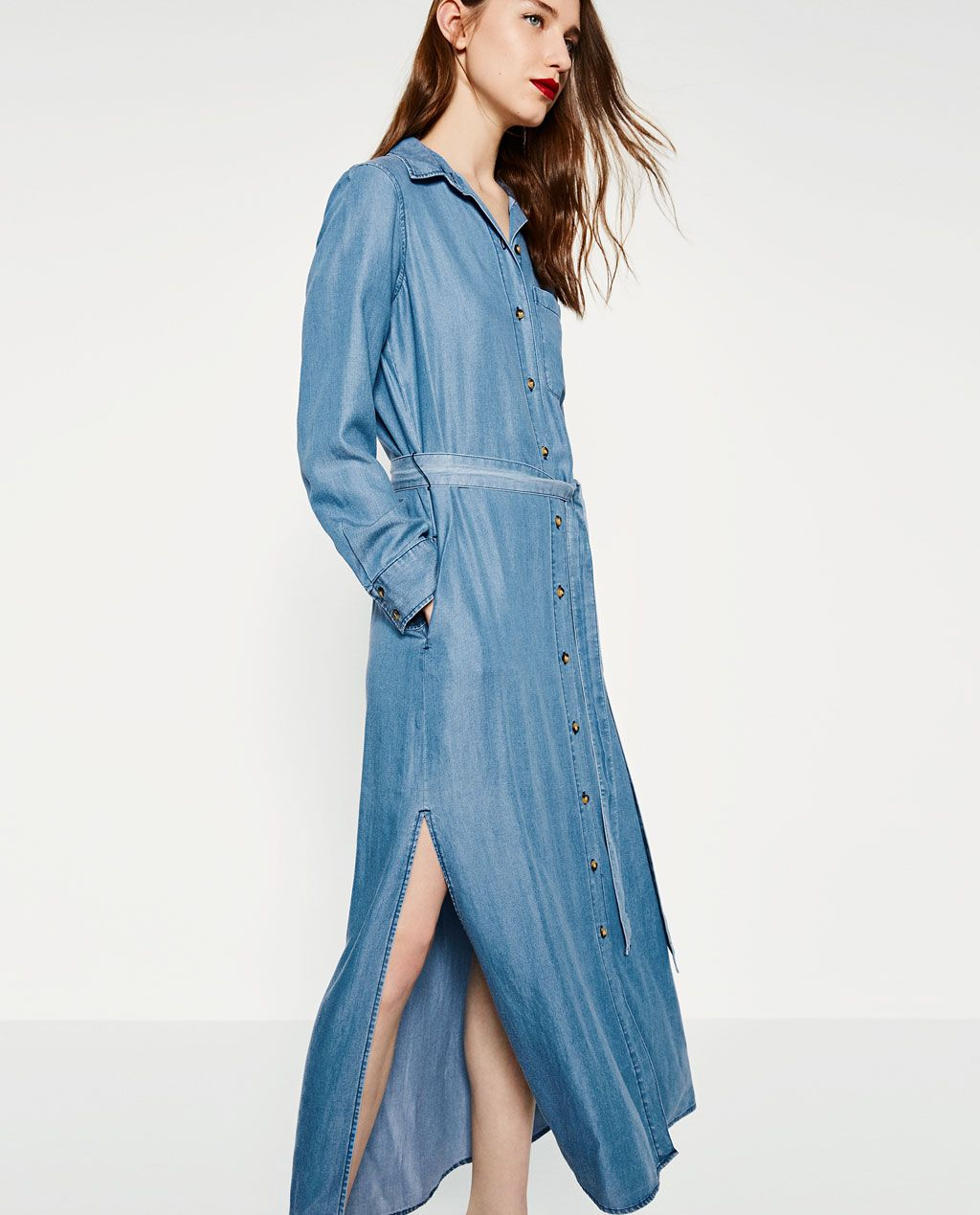 d23fcfd9f4c Image 2 of LONG DENIM DRESS from Zara
