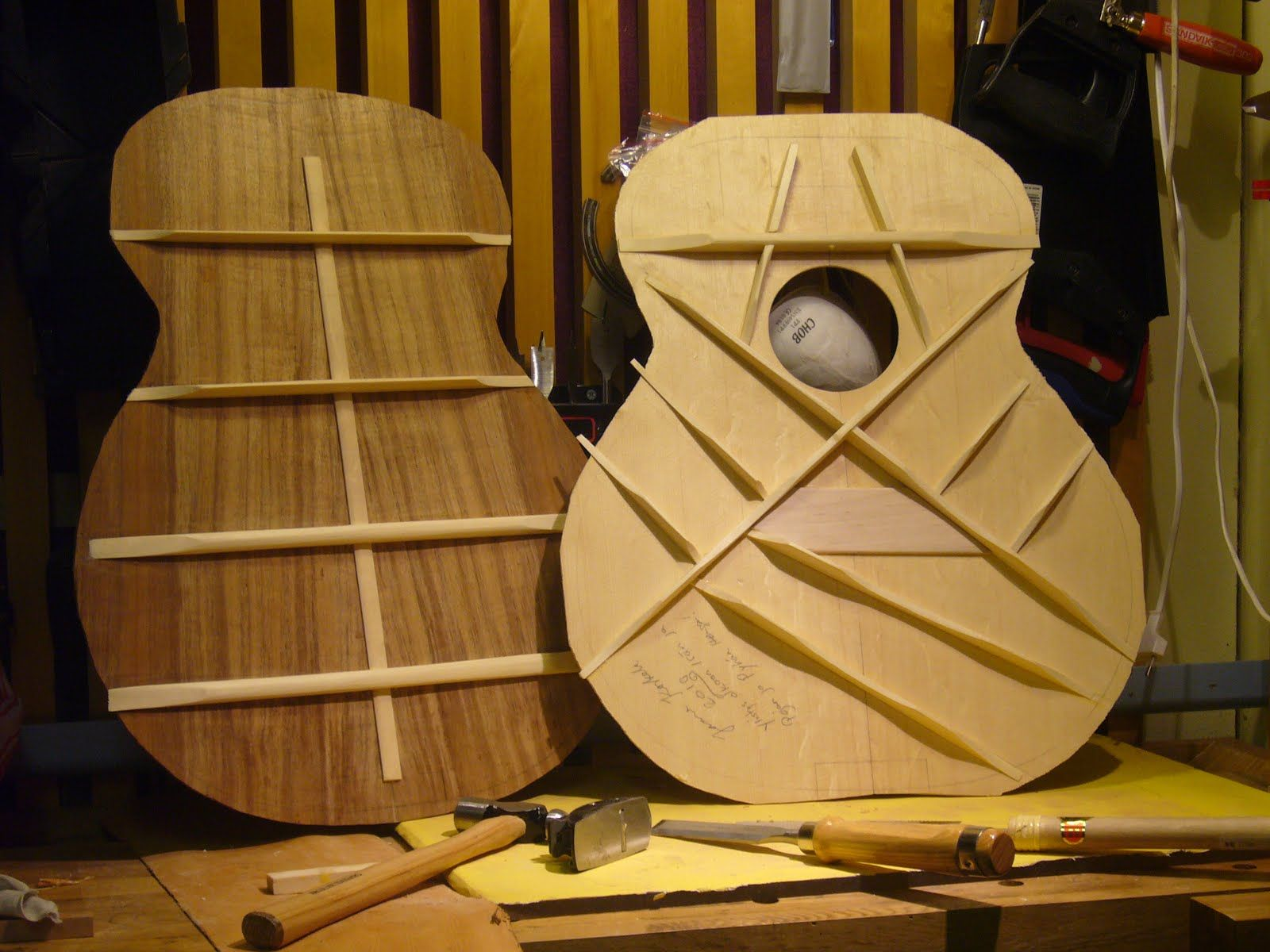 Top And Back Bracing Of An Acoustic Guitar Looks Like A Rather Large Body For This One Possibly A Jumbo Or An Guitar Building Acoustic Guitar Martin Guitar