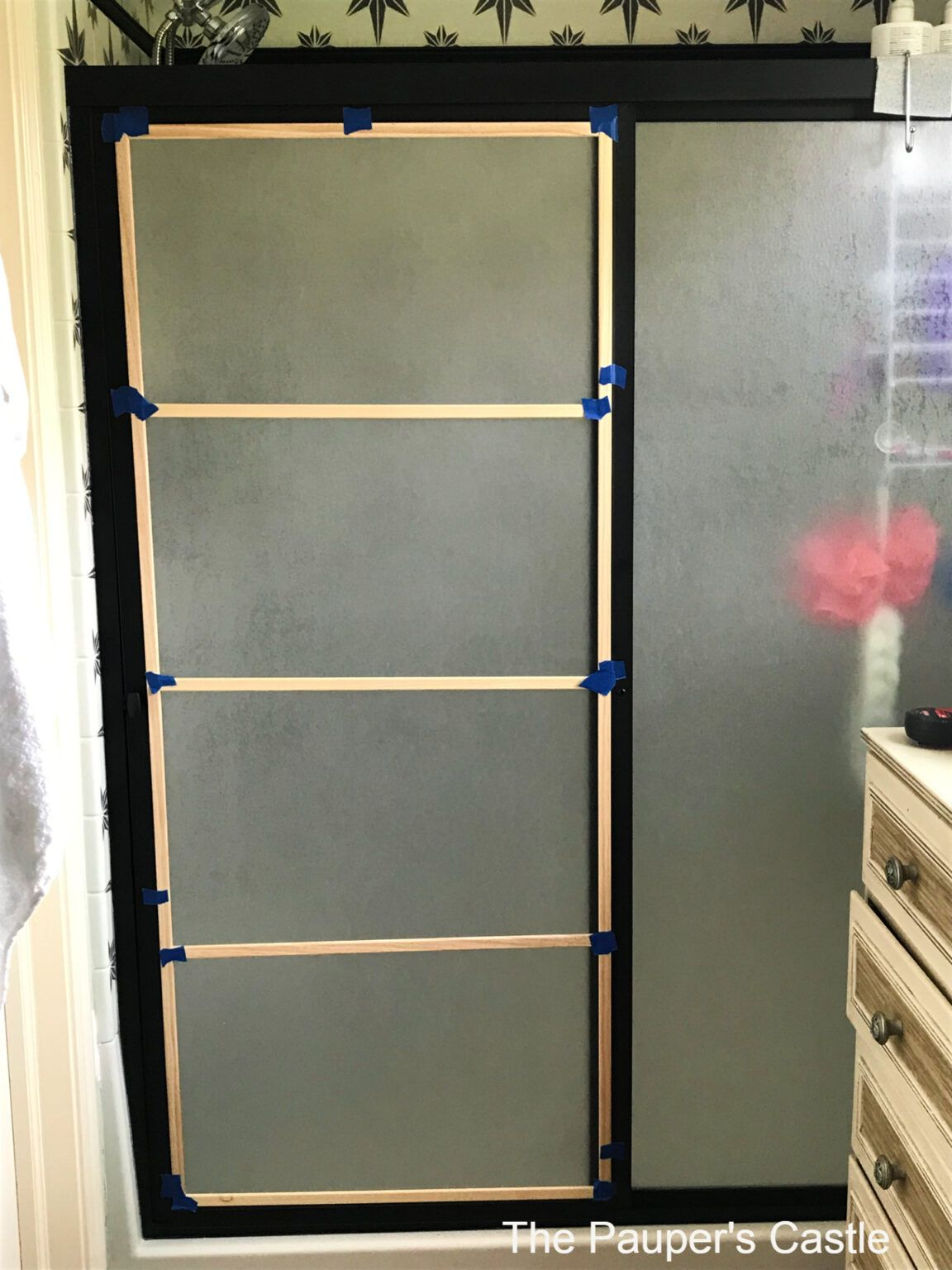 Don T Replace Restyle Your Old Shower Doors With Paint And Trim The Pauper S Castle In 2020 Framed Shower Door Diy Shower Door Frosted Shower Doors