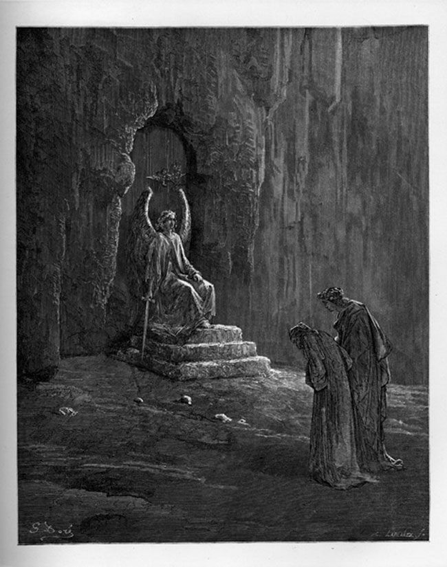 Purgatory: Angel of the Church before the Door of Purgatory. Creator: Doré, Gustave Date: c.1868
