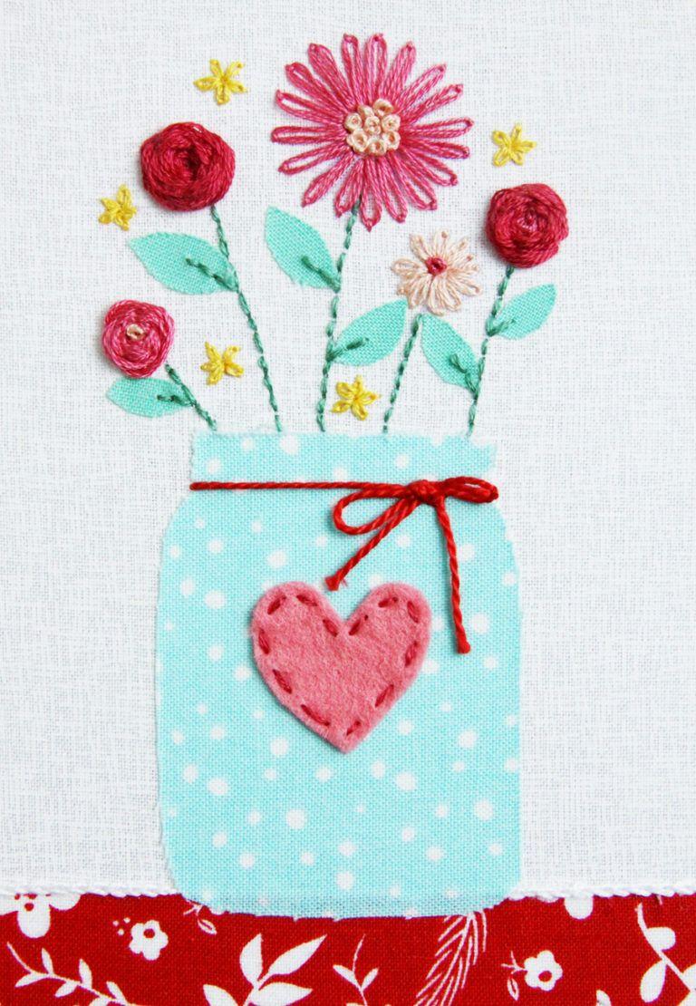 Sweet mason jar vase hoop free embroidery pattern needlework