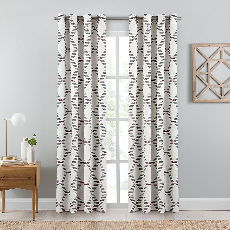 Emmett Geometric 63 Inch Grommet Window Curtain Panel In Berry