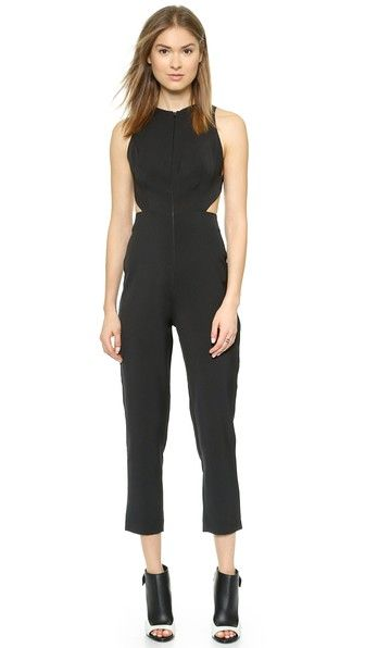 Chromide jumpsuit in black - criss cross straps on the back