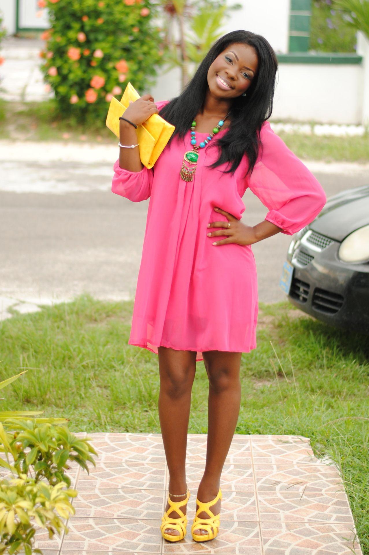 Pretty in bright pink and bright yellow moda femenina pinterest