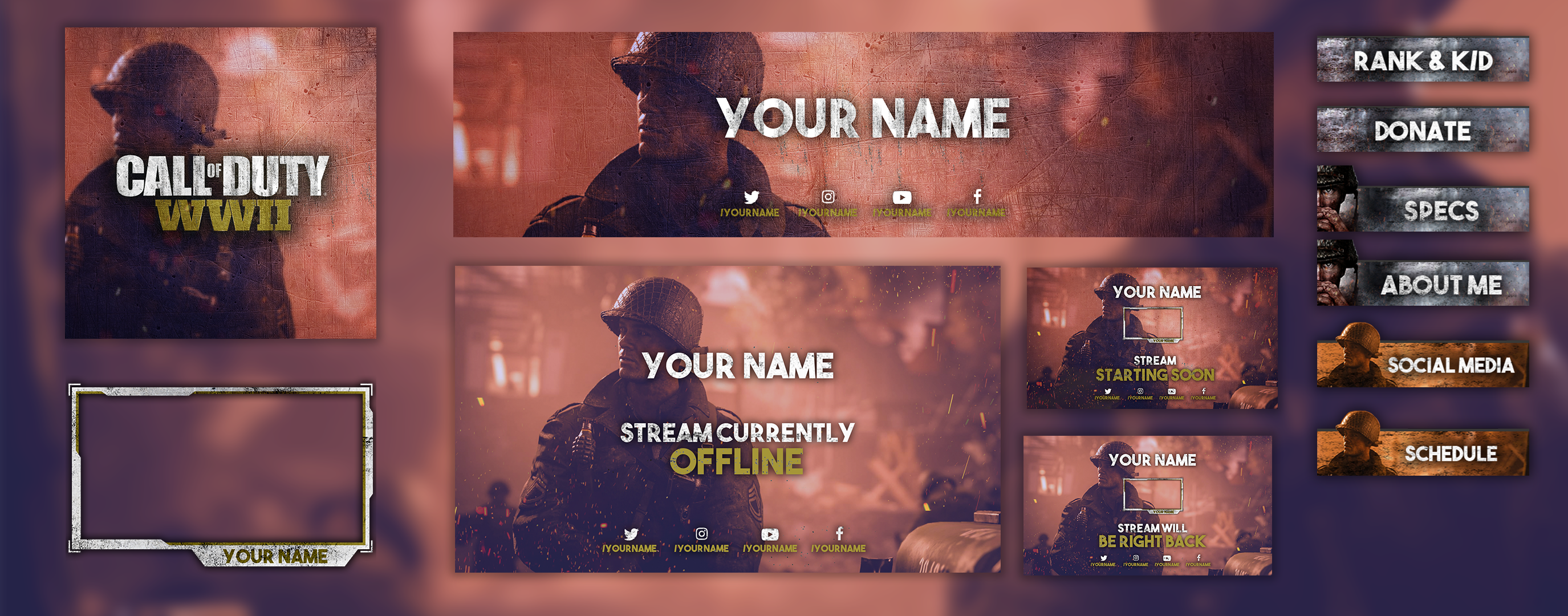 Http Ift Tt 2xqn9tu Twitch Graphics For Call Of Duty Wwii Streaming Including An Overlay Panels Banner Profile Photo An Call Of Duty Twitch Game Interface