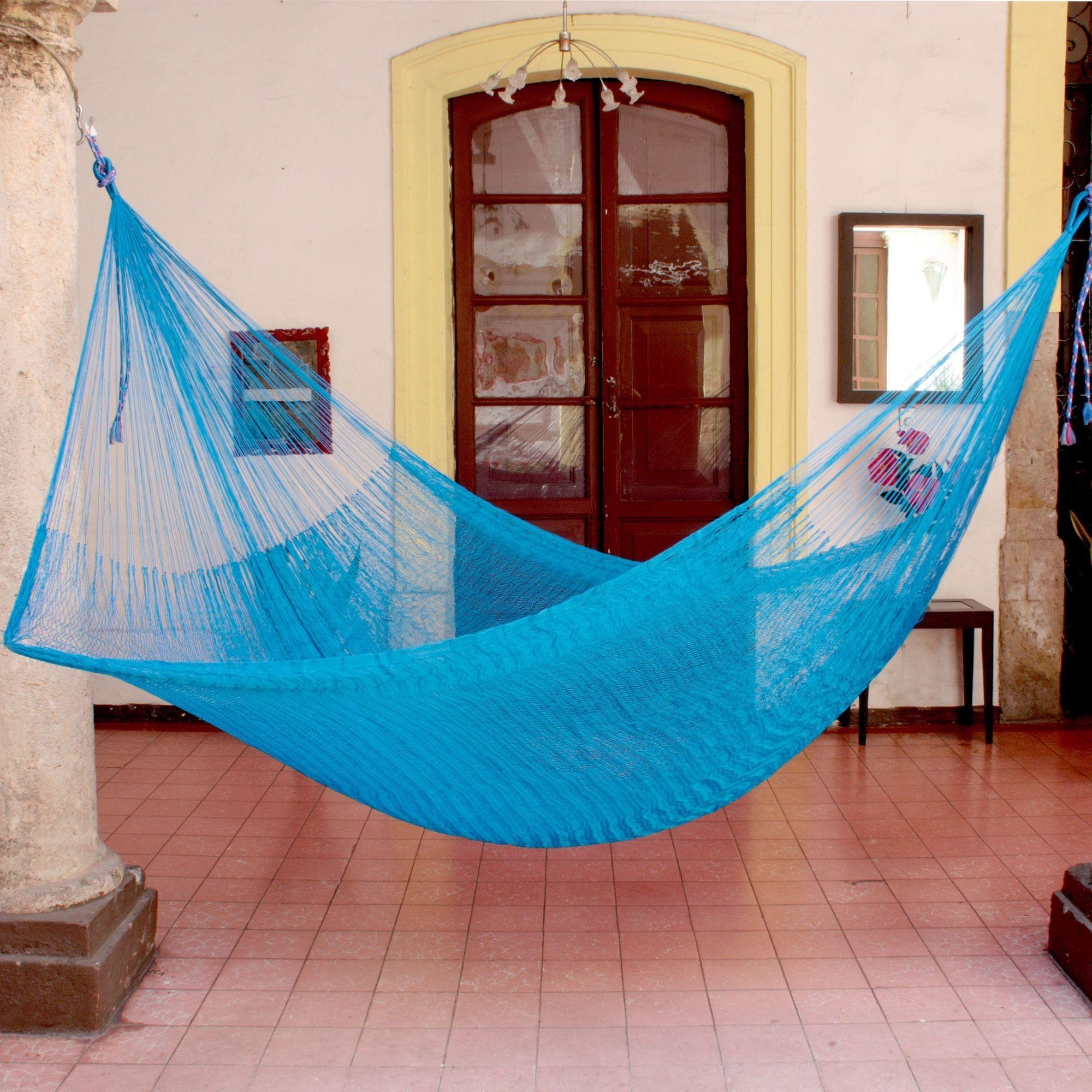 Double Nylon Hammock Handmade Mayan Rope Style /'Caribbean Dream/' NOVICA Mexico