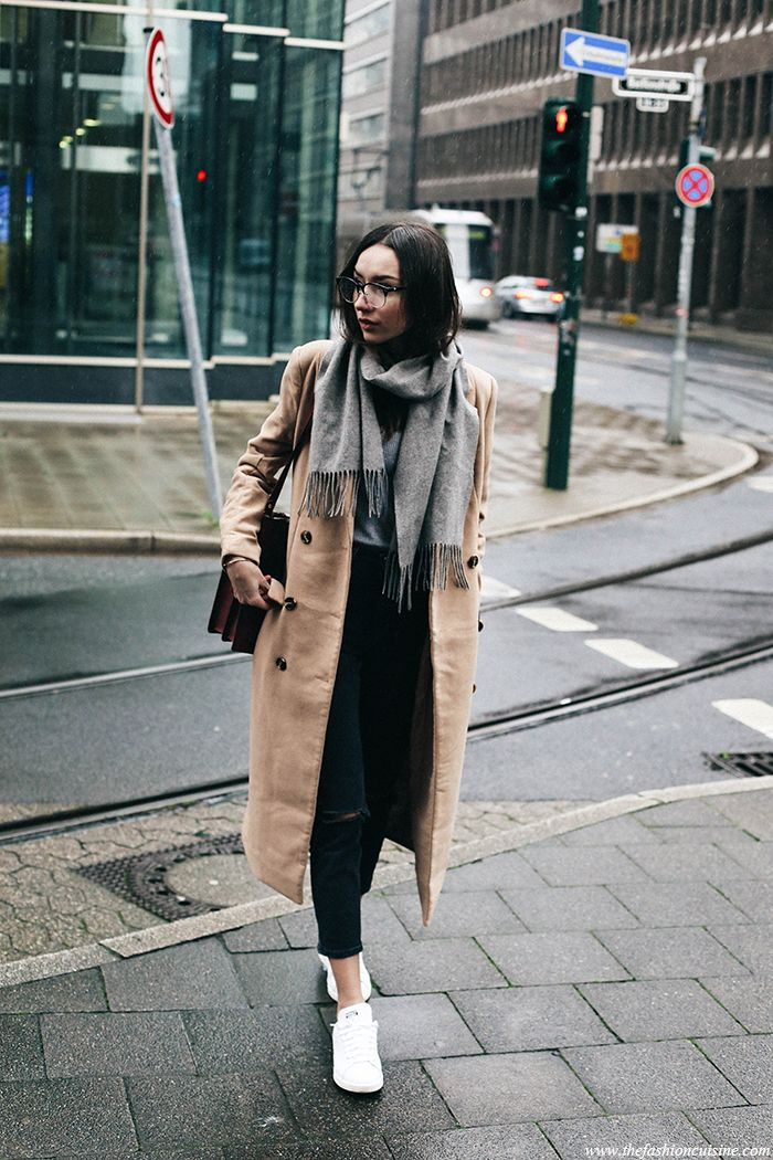 d95c74455f How to wear Missguided camel double breasted coat with grey scarf and Stan  Smith sneakers