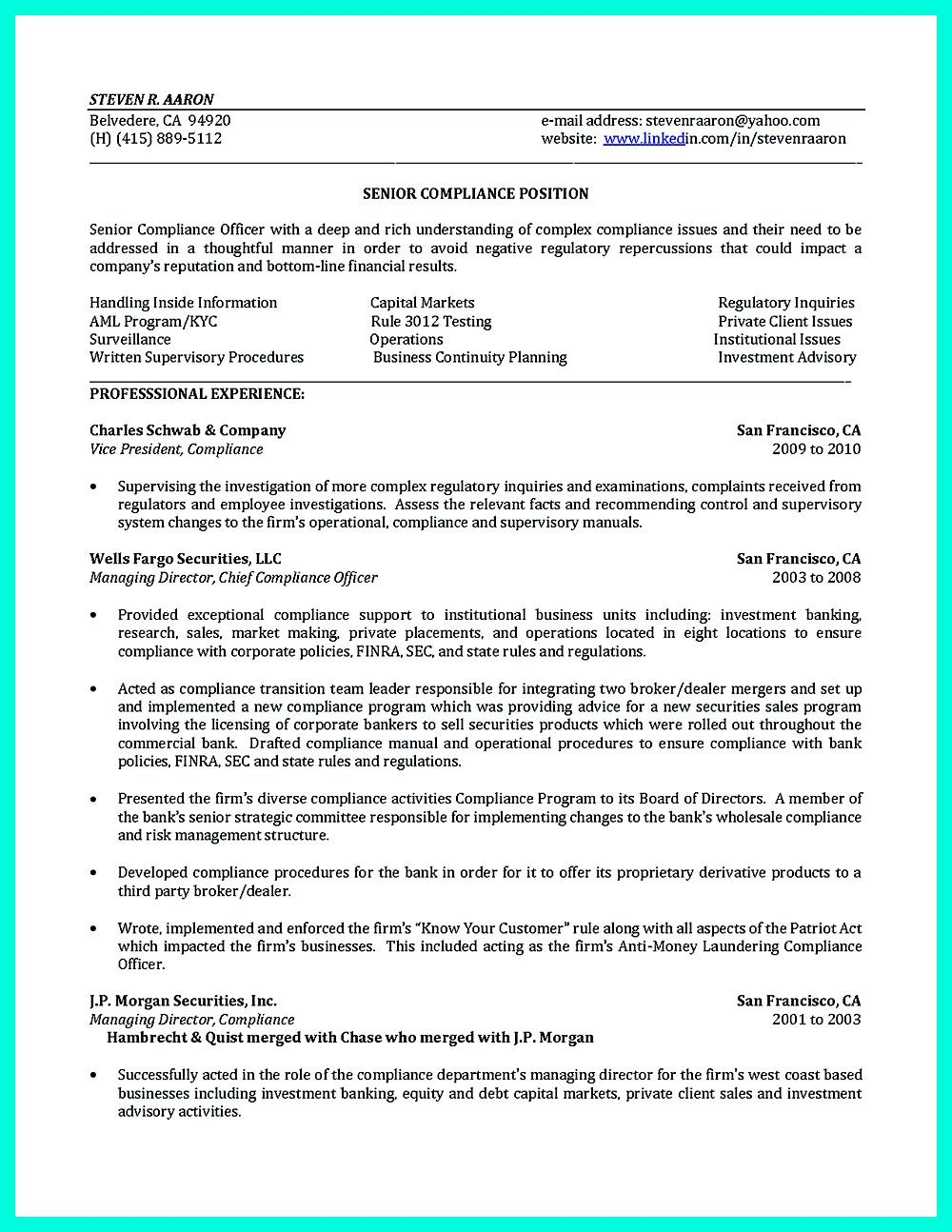 Compliance officer resume is well designed to get the attention of ...