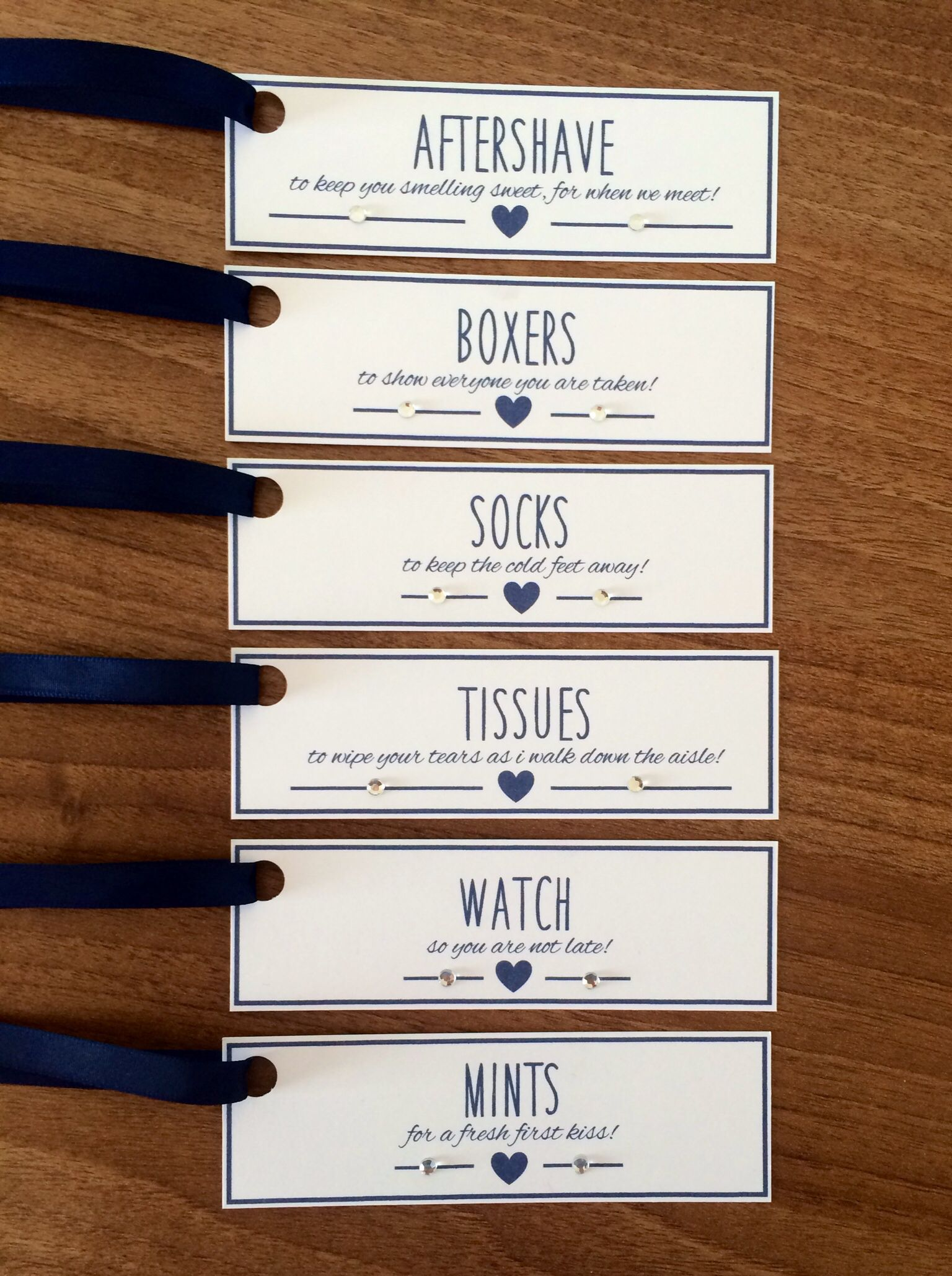 Groom Survival Kit Tags White Card With Navy Blue Ribbon These Gift Are
