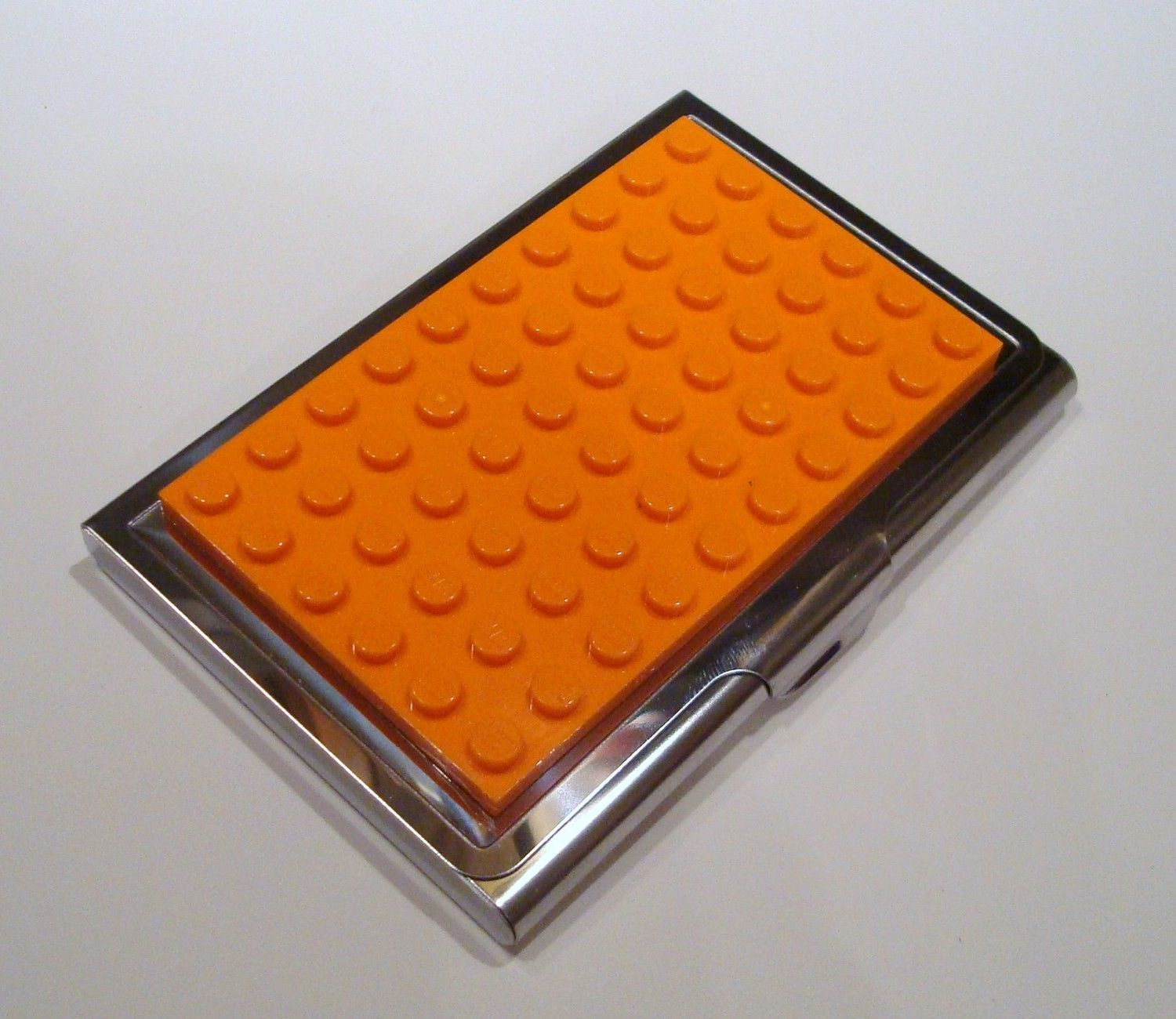 Stainless Steel Business Card Case Orange made with Lego (r) plate ...