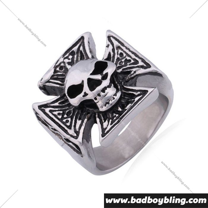 Iron Cross Skull Mens 316L Stainless Steel Ring Material: 316L Stainless Steel Measurement: 20mm, 0.8inch, Weight: 18.7g, Size: 8-12