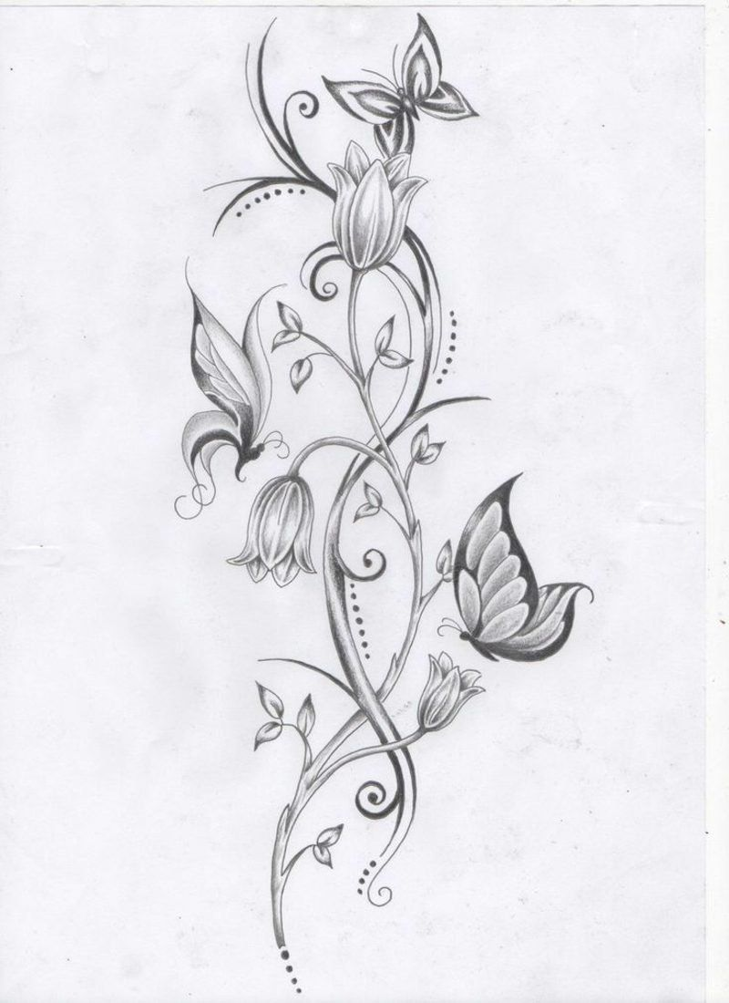 Blumenranken Tattoo 20 Beautiful Templates For Various Parts Of The Body Vine Tattoos Butterfly With Flowers Tattoo Flower Vine Tattoos