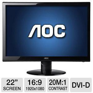 "AOC 22"" Class Widescreen LED Monitor - 1920 x 1080, 16:9, 60Hz, 20000000:1 Dynamic, 5ms, VGA, DVI-D, Energy Star (e2252Swdn)"