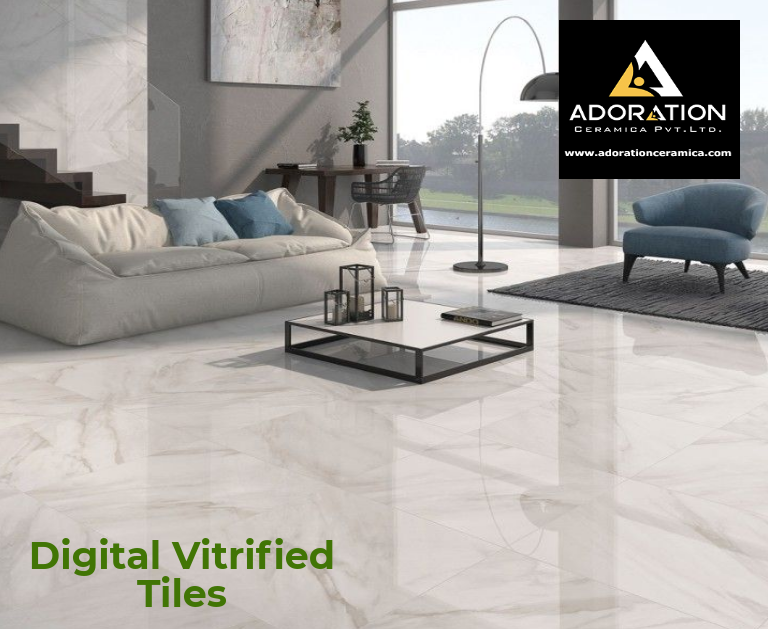 Adoration Ceramic Is The Best Digital Vitrified Tiles And Ceramic Wall Tiles Company In India Change Living Room Tiles White Tile Floor Tile Floor Living Room