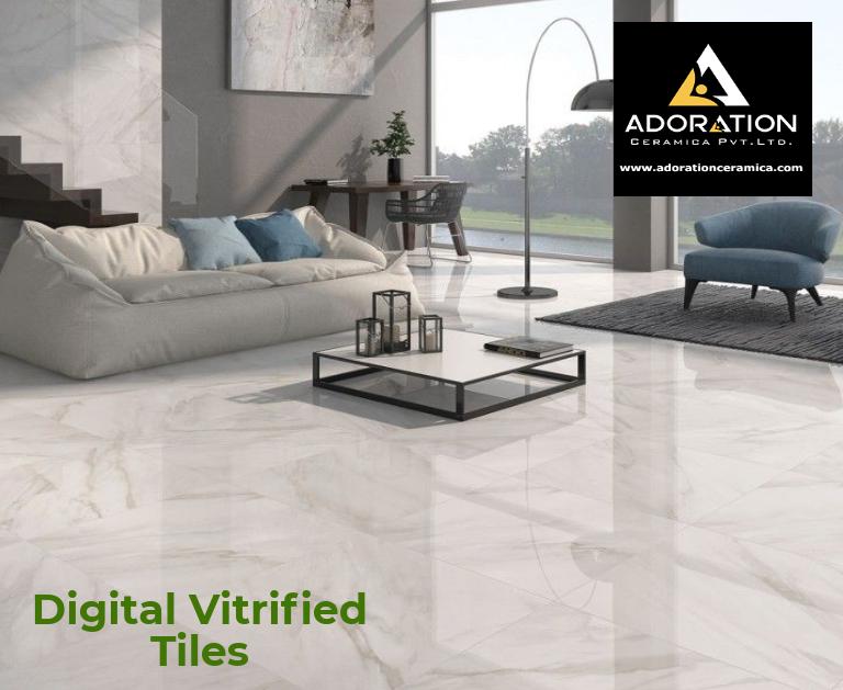 Adoration Ceramic Is The Best Digital Vitrified Tiles And Ceramic Wall Tiles Company In India Change Living Room Tiles White Tile Floor Tile Floor Living Room