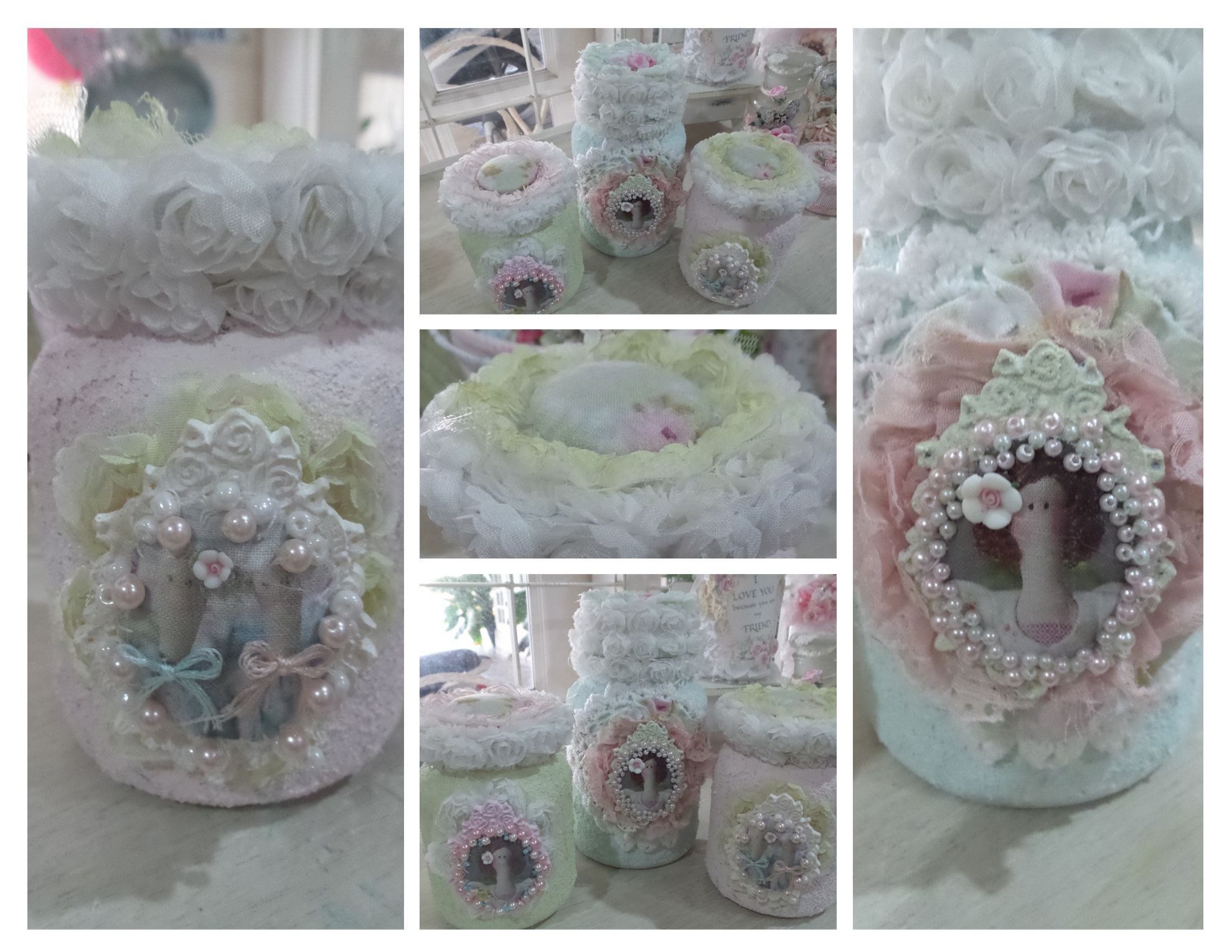 Altered Tilda/Shabby Chic Jars-Sand Texture Paste-created by Msgardengrove1